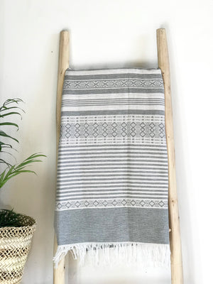 Hammam Towel - WHITE w/ Grey Stripes