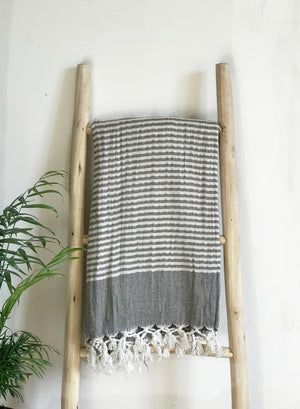 Hammam Towel - NATURAL  w/ Brown Stripes