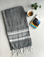 Hammam Towel - DARK GREY w/ White Stripes -