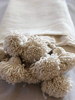 Hand-Woven Moroccan Pom Pom Blanket - Off White