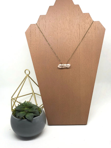 Edgy Petal - Clear Quartz Crystal Horizontal Necklace