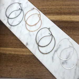 Harper Hammered Metal Oval Hoop