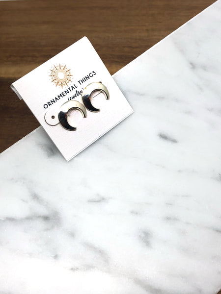 Ornamental Things - Upside Down Moon Stud Earring
