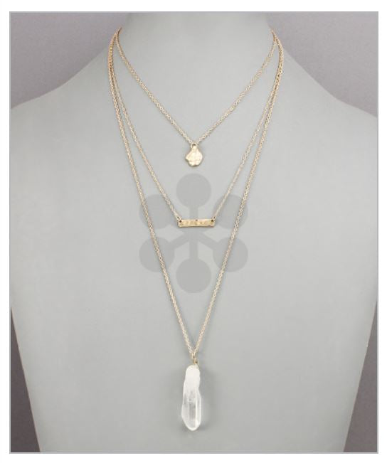 Donn Crystal Double Layer Necklace