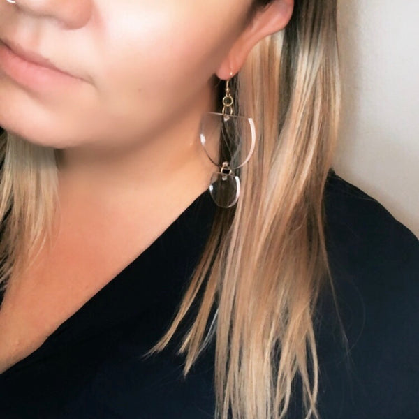 Ink+Alloy Lucite Half Moon Earring
