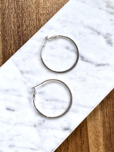 Marg Flat Silver Hoop Earrings
