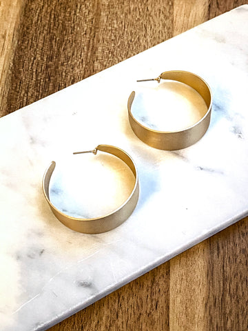 Rose Matte Metal Gold Hoop