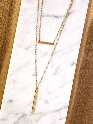 Marcy Double Bar Necklace