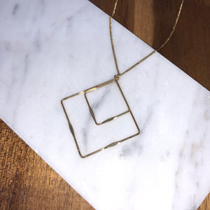 Diamond Cutout Necklace - Gold