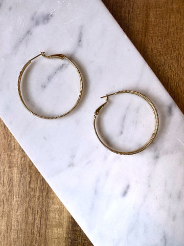 Tish Textured Gold Hoop Earring