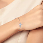 Lariat Side Way Cross Mother of Pearl Bracelet