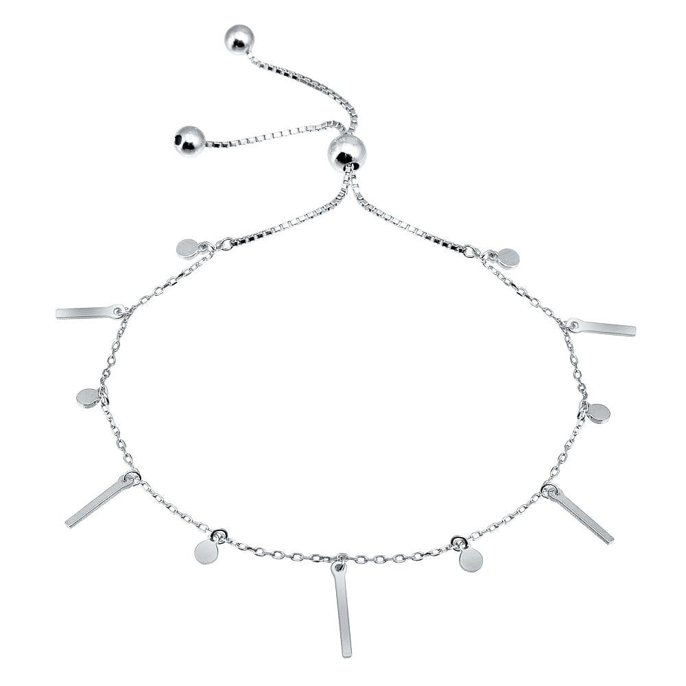 Dangling Bar and Disc Lariat Bracelet