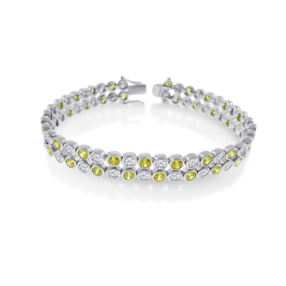 Two Row Bezel Set Bracelet