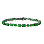 All Bracelet Emerald Rectangle and Oval Gemstone Bracelet