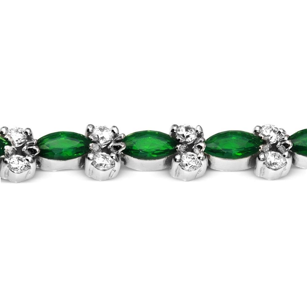 All Bracelet Green Marquise and Diamond Round Tennis Bracelet