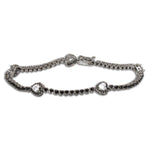 Heart Tennis Bracelet with Black Diamond