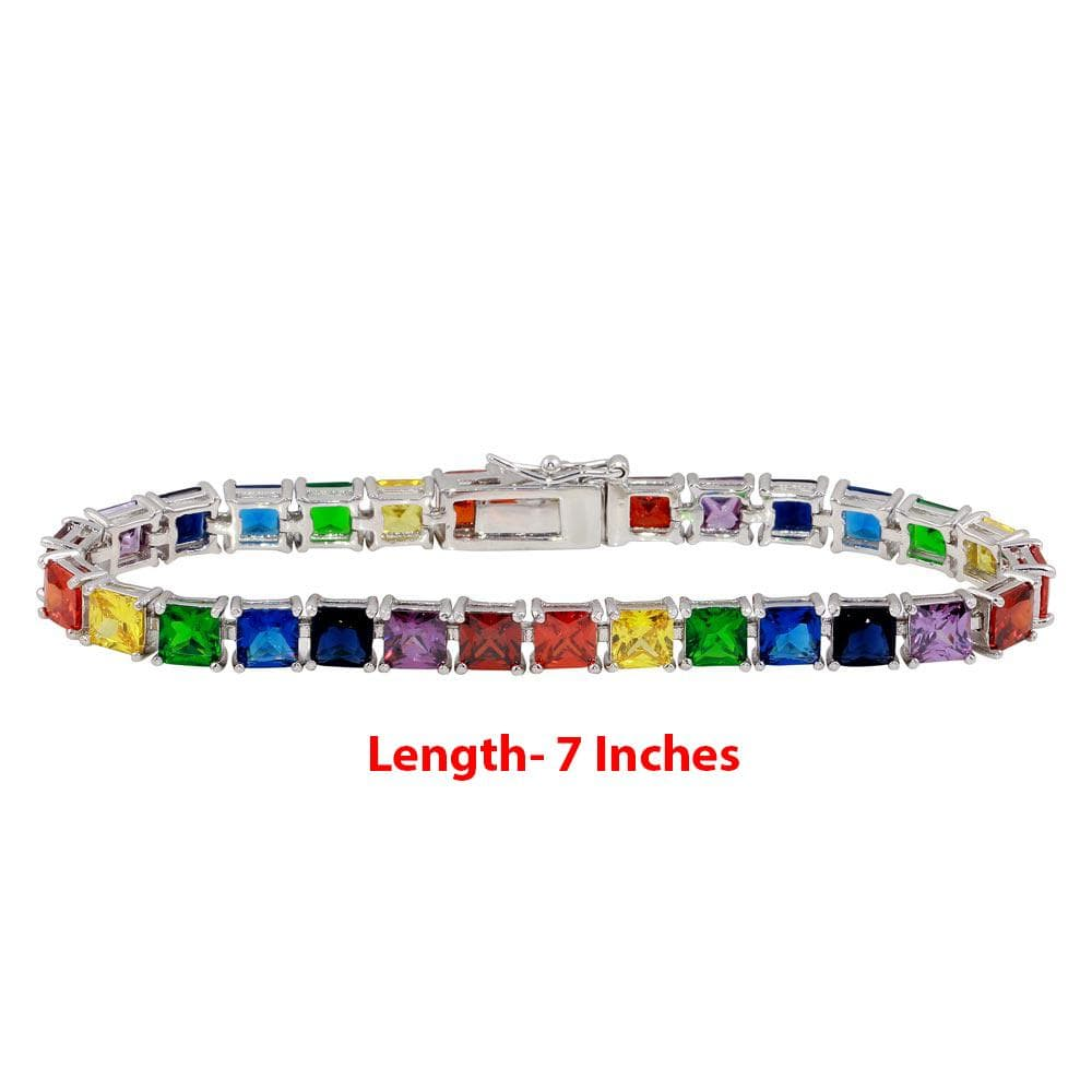 All Bracelet Large Square Rainbow Gemstone Tennis Bracelet