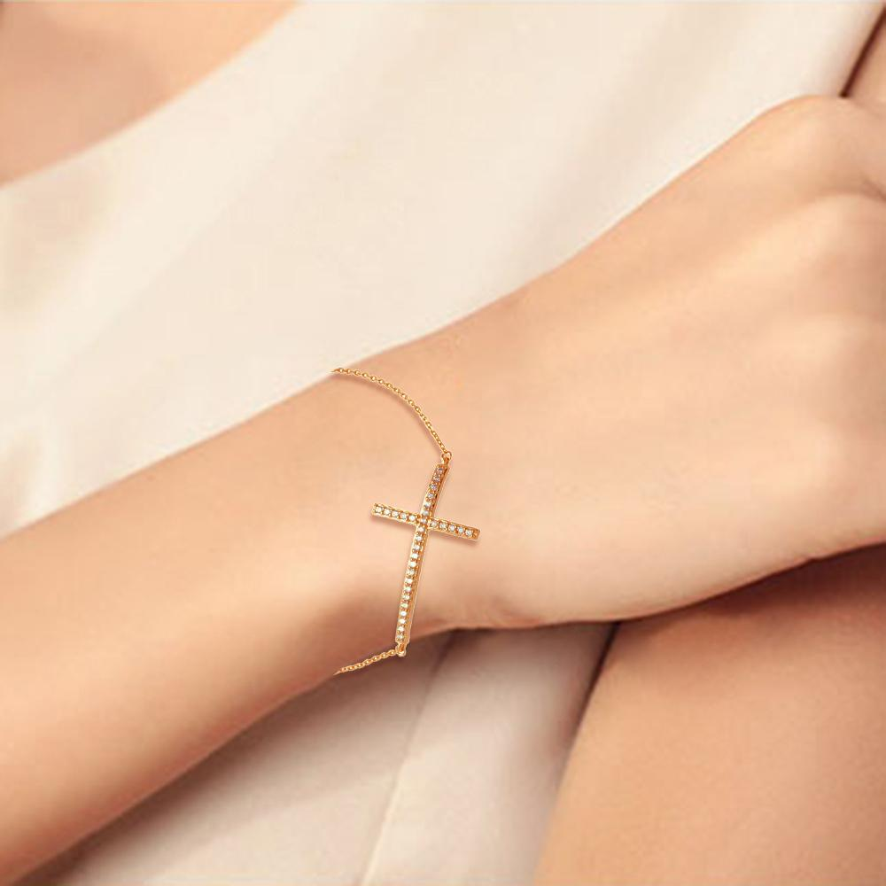 All Bracelet Rose Gold Sideways Cross And Diamond Bracelet