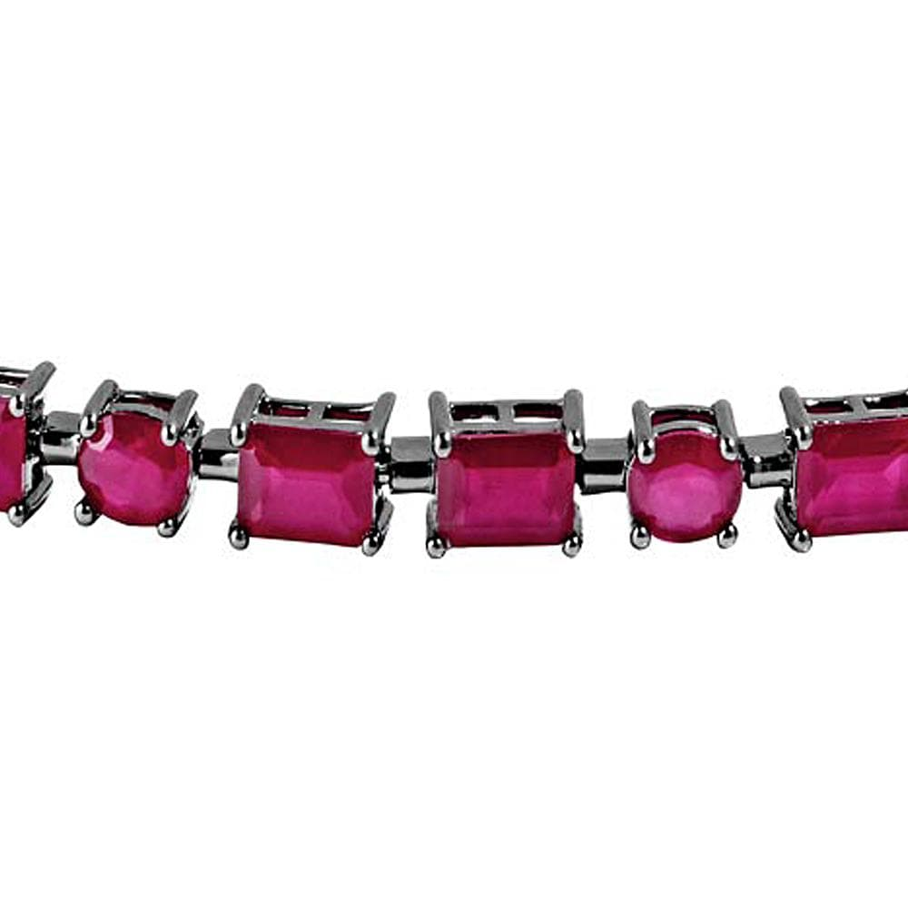 All Bracelet Ruby Rectangle and Oval Gemstone Bracelet