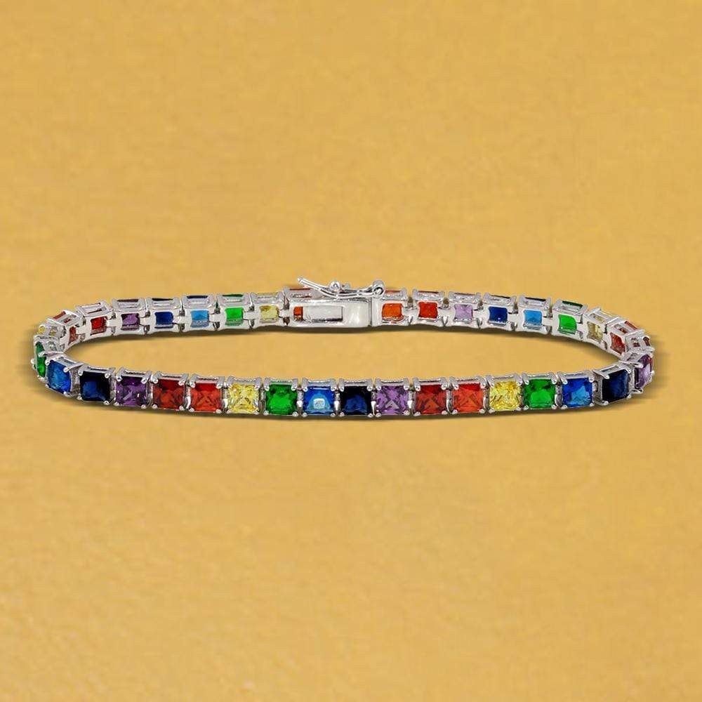 All Bracelet Square Rainbow Gemstone Tennis Bracelet