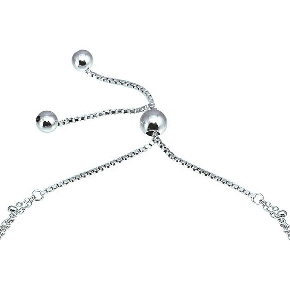 All Bracelet Sterling Silver 925 Layered Lock and Key Chain Lariat Bracelet Sterling Silver 925 Rhodium Plated Layered Dangling Bar and Disc Chain Lariat Bracelet