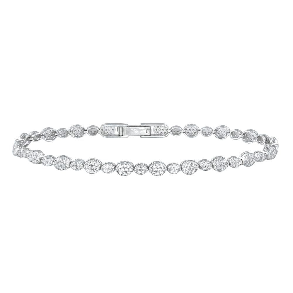 "All Bracelet Sterling Silver 925 Rhodium Plated Multiple Circle and Marquis Clear 7.5"" Tennis Micro Pave CZ Bracelet"