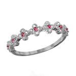 Round Cut Red Ruby Clover Band