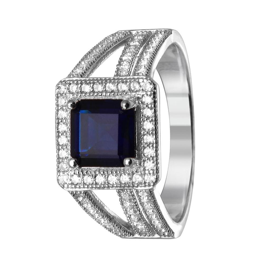 Halo Blue Sapphire Engagement Ring