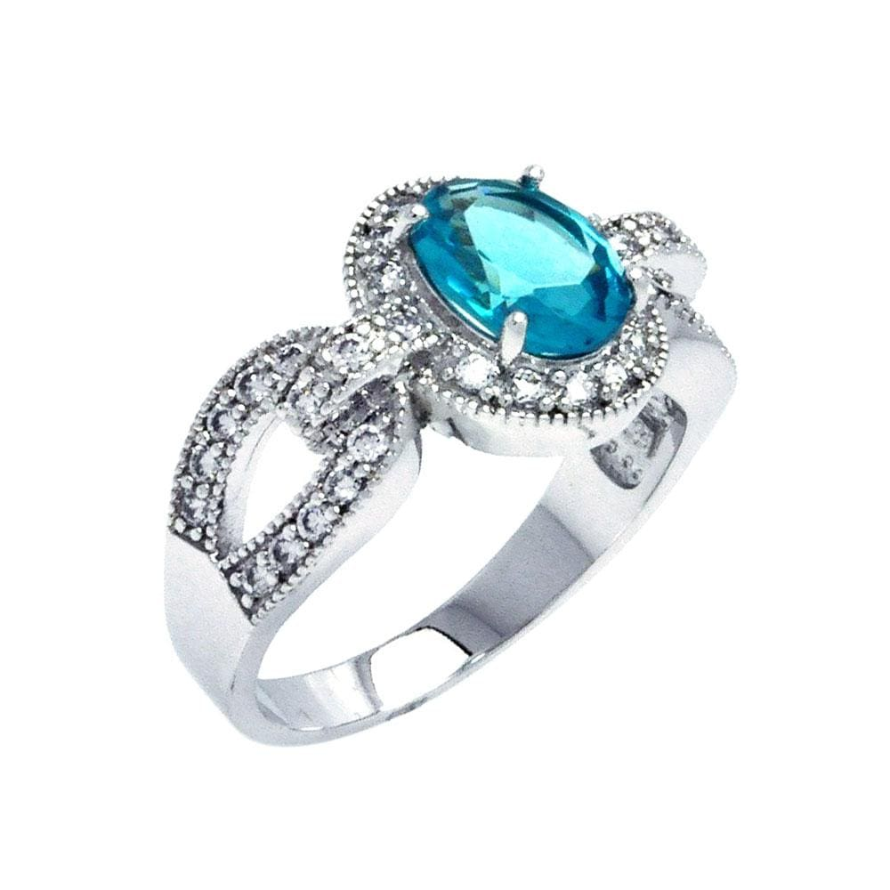 All Rings Aqua Solitaire And Diamond Ring