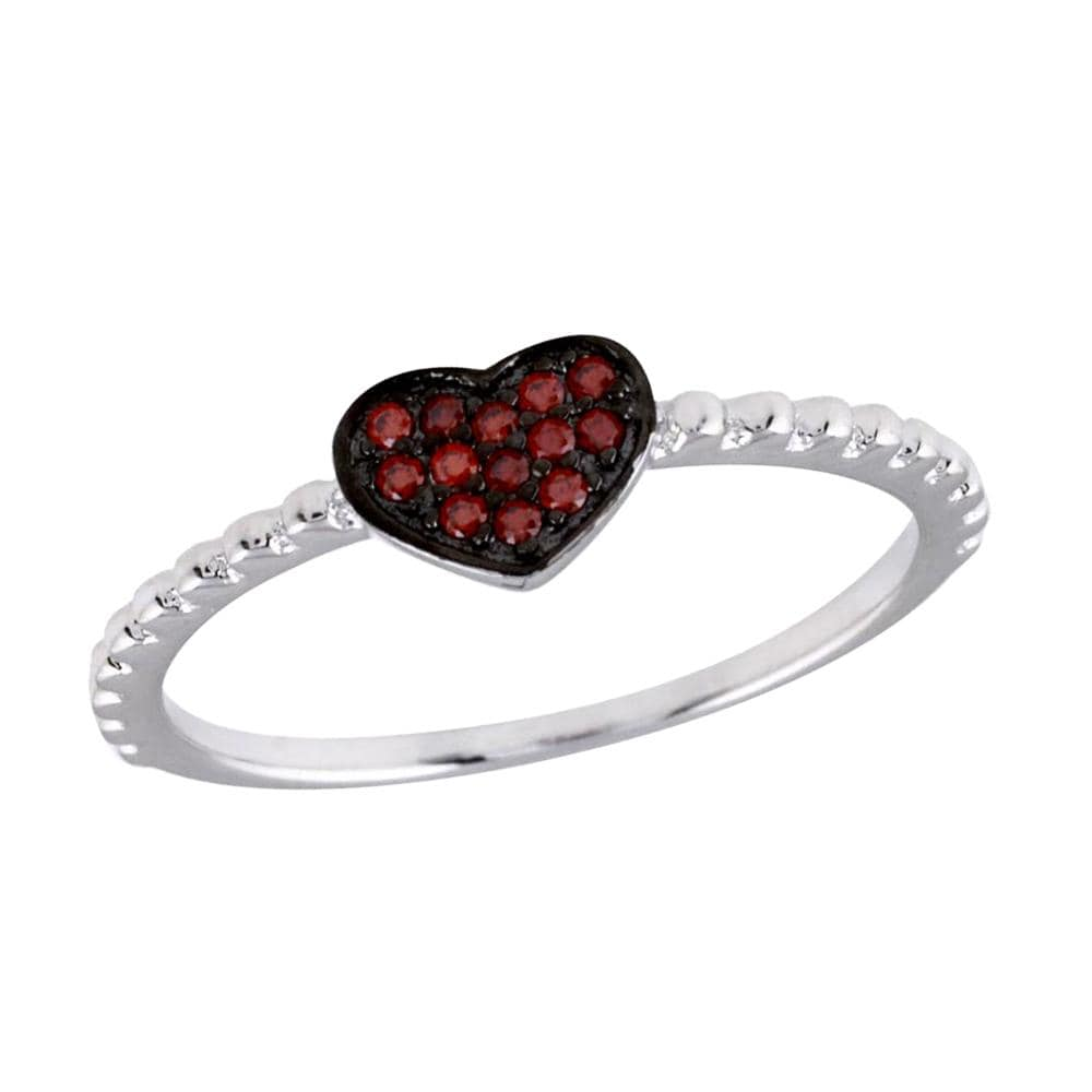 Red Ruby Heart Shape Ring