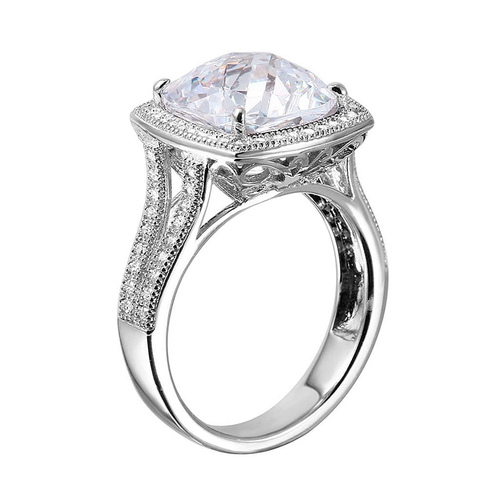 All Rings Halo Diamond Ring with Split Shank