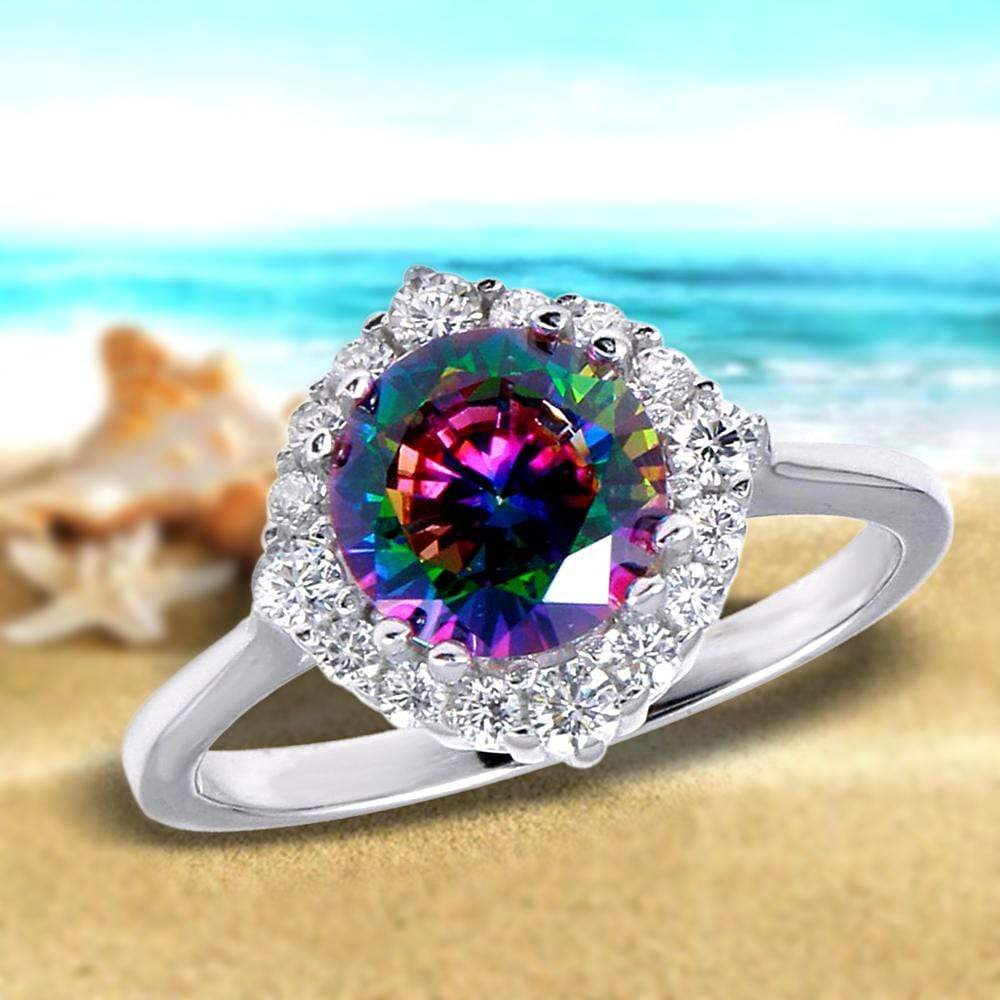 All Rings Halo Mystic Topaz Diamond Ring