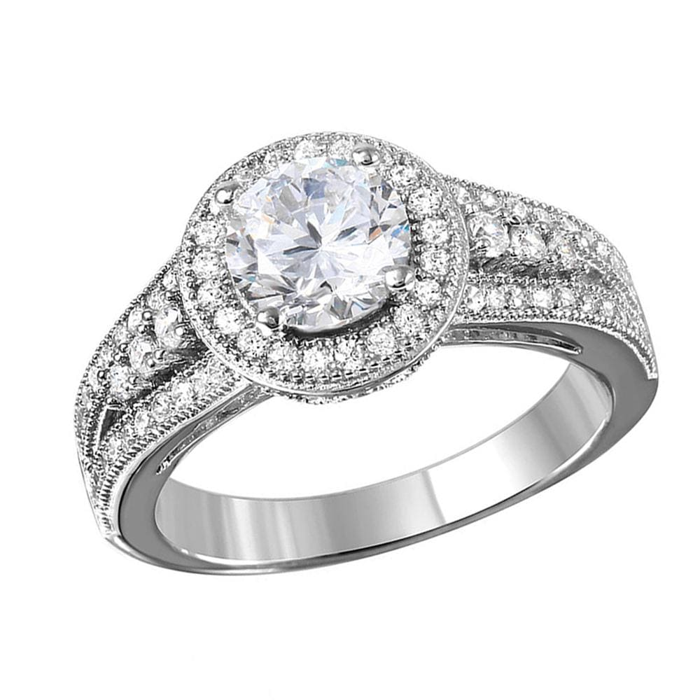 All Rings Halo Ring With Diamond Split Shank Band