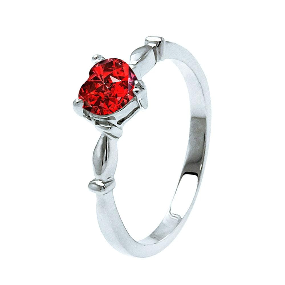 All Rings Heart Ruby January Ring