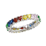 Multi-Colored Heart Stone Ring
