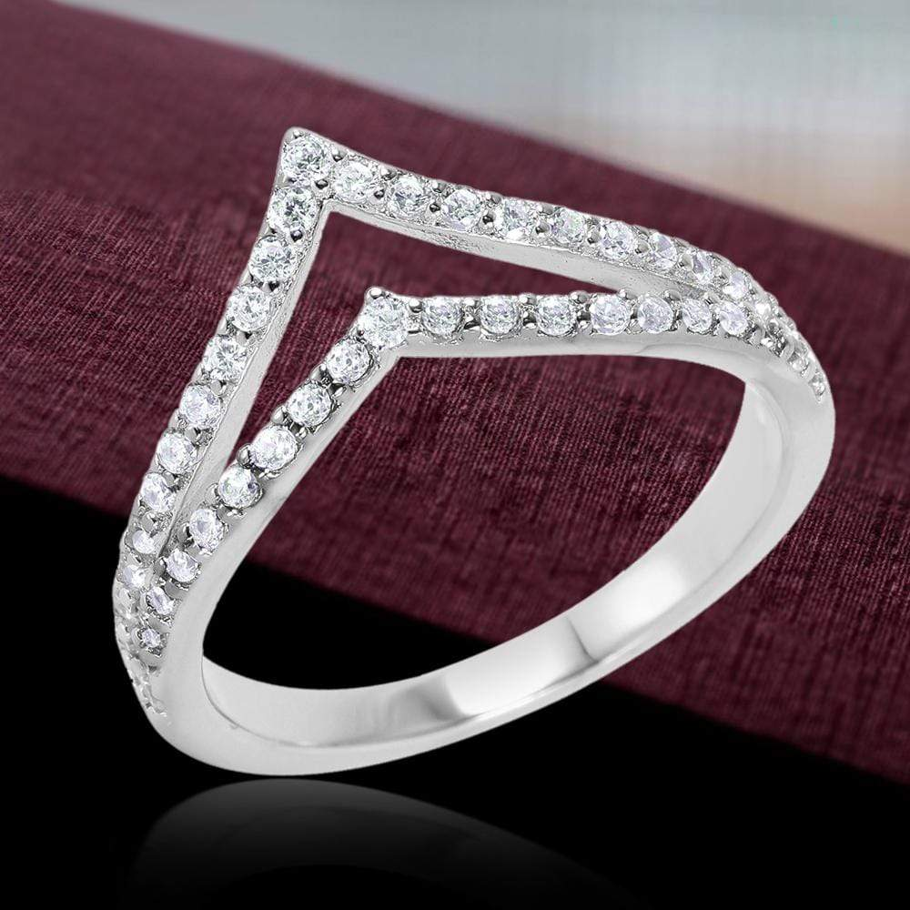 All Rings Pave Set Diamond Double Chevron Ring