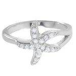 All Rings Pave Set Diamond Small Starfish Ring