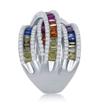 All Rings Rainbow Baguette Criss Cross Ring Rainbow Baguette Criss Cross Ring Sterling Silver