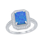 All Rings Rectangle Blue Opal With Hexagon Shaped Ring  Rectangle Blue Opal With Hexagon Shaped Ring Sterling Silver