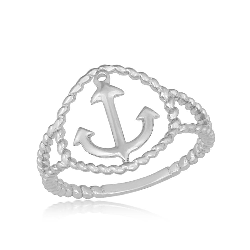 All Rings Rope Design Anchor Ring Rope Design Anchor Ring Sterling Silver