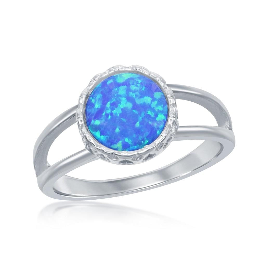 All Rings Round Blue Opal Spilt Shank Ring Round Blue Opal Spilt Shank Ring Sterling Silver