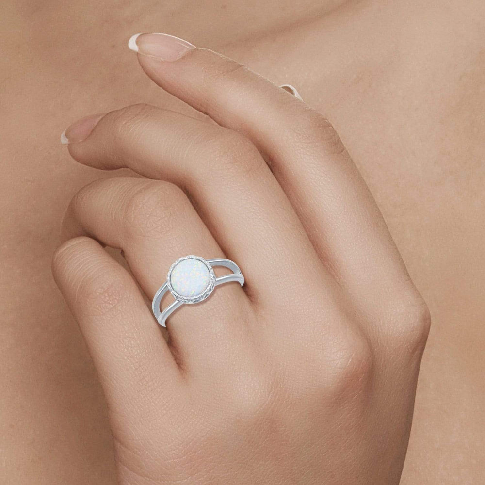 All Rings Round White Opal Spilt Shank Ring Round White Opal Spilt Shank Ring Sterling Silver