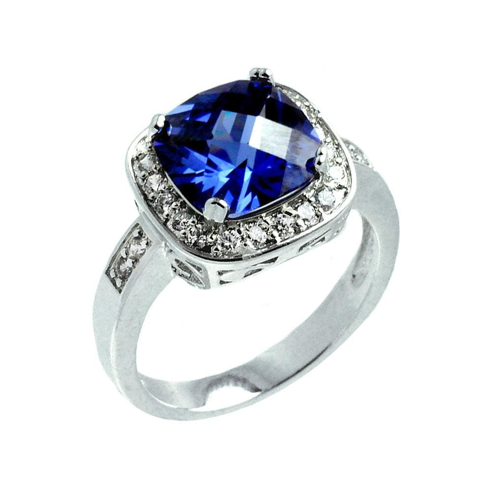 Sapphire Solitaire Square and Diamond Cluster Ring