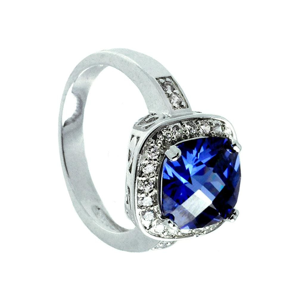 All Rings Sapphire Solitaire Square and Diamond Cluster Ring