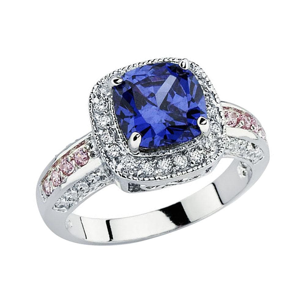 Solitaire Square Sapphire and Diamond Cluster Ring