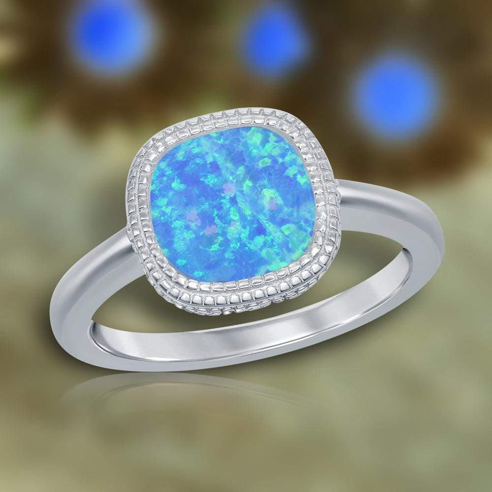 All Rings Square Blue Inlay Opal Ring Square Blue Inlay Opal Ring Sterling Silver