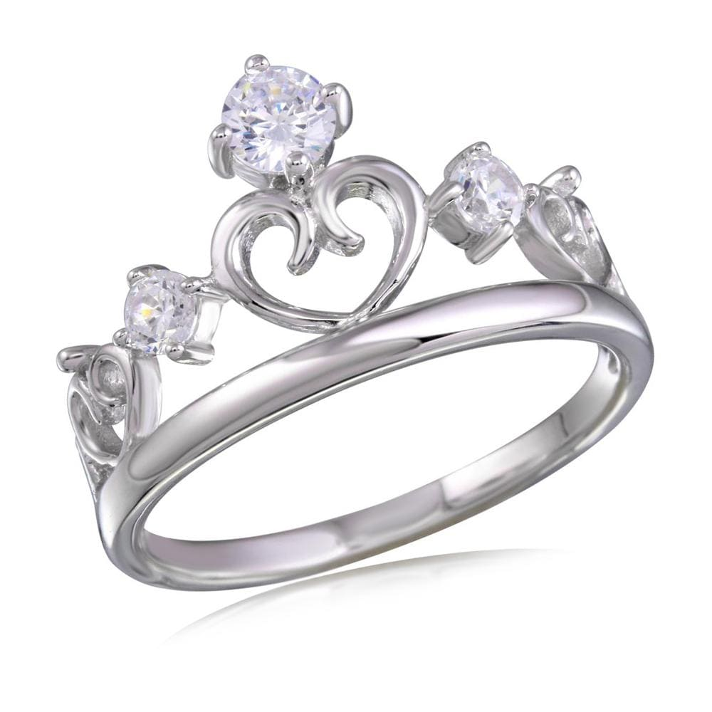 Three Stone Heart Crown Diamond Ring