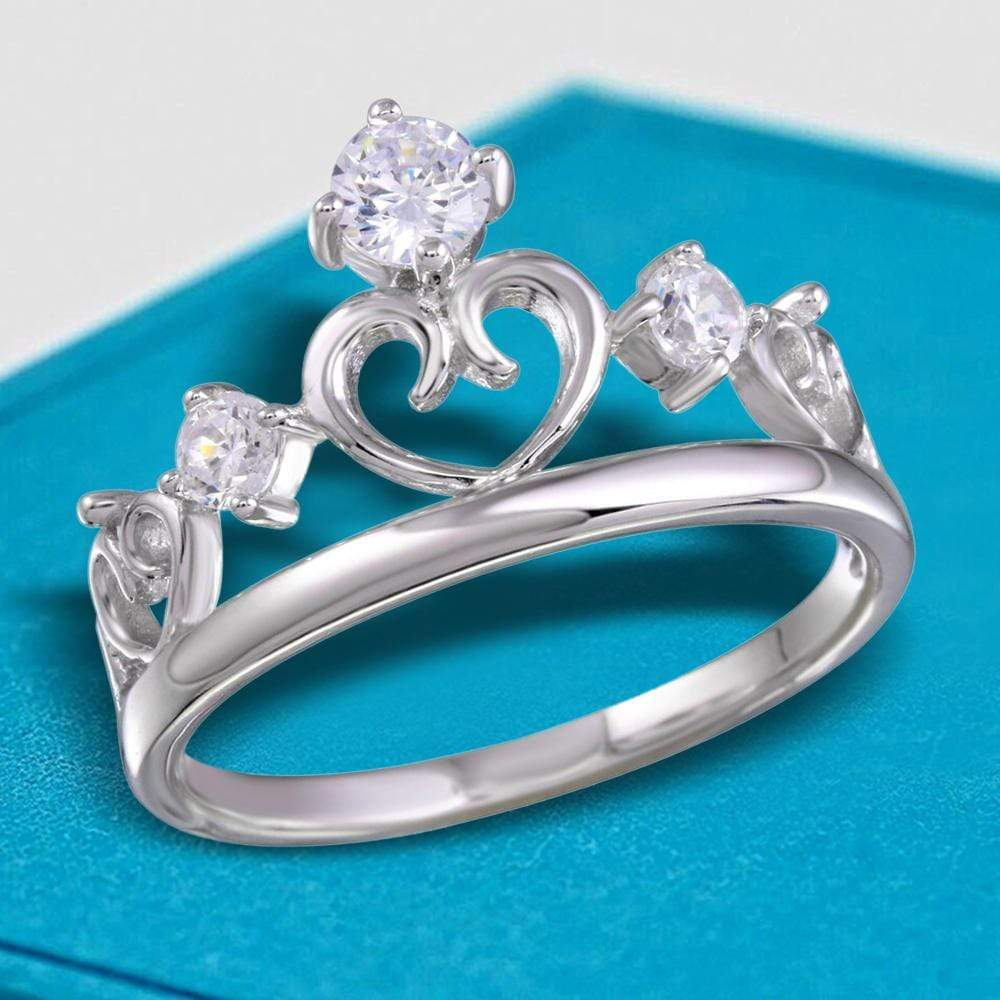 All Rings Three Stone Heart Crown Diamond Ring