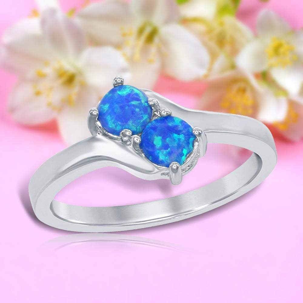 All Rings Two-Stone Blue Opal Ring Two-Stone Blue Opal Ring Sterling Silver