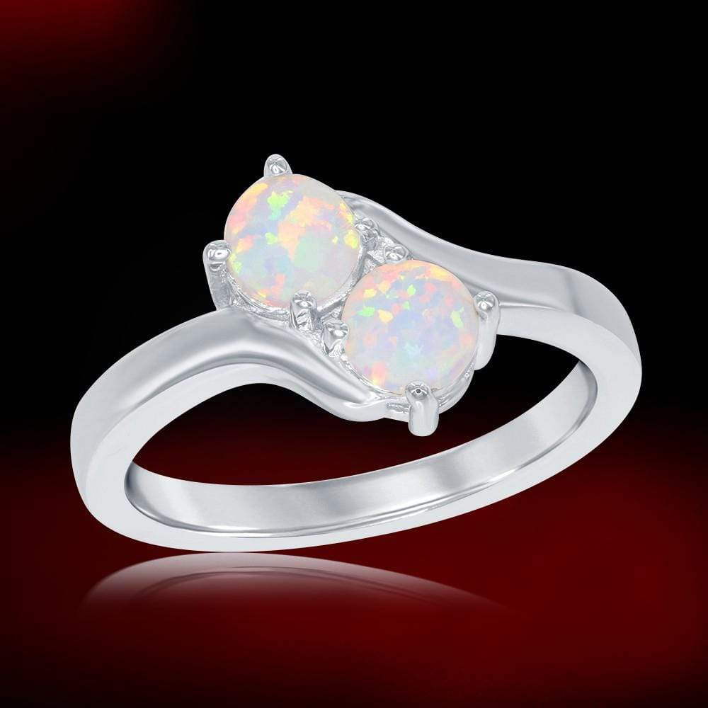 All Rings White Opal Two-Stone Ring White Opal Two-Stone Ring Sterling Silver